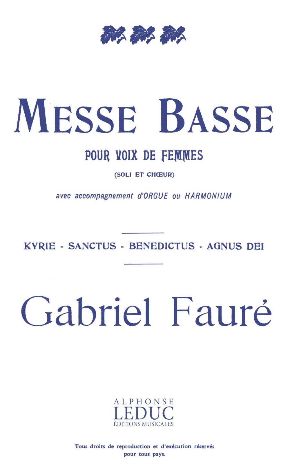 Gabriel Fauré: Messe Basse: 2-Part Choir: Vocal Score