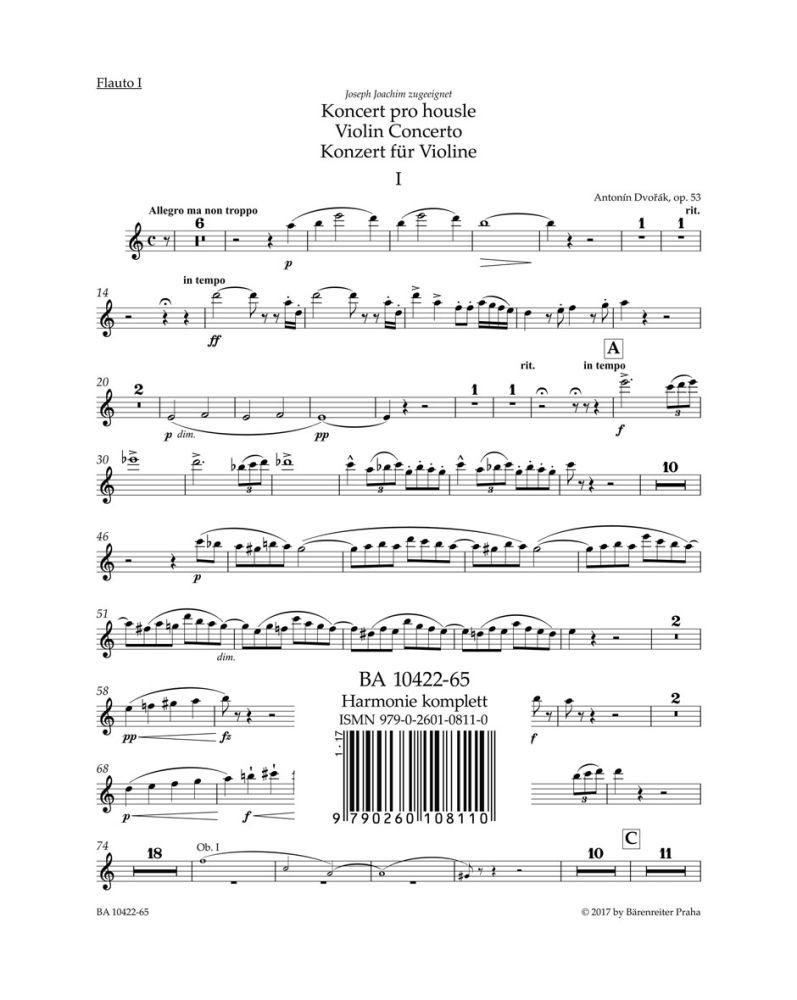 Antonín Dvo?ák: Violin Concerto in A minor Op.53: Violin: Parts