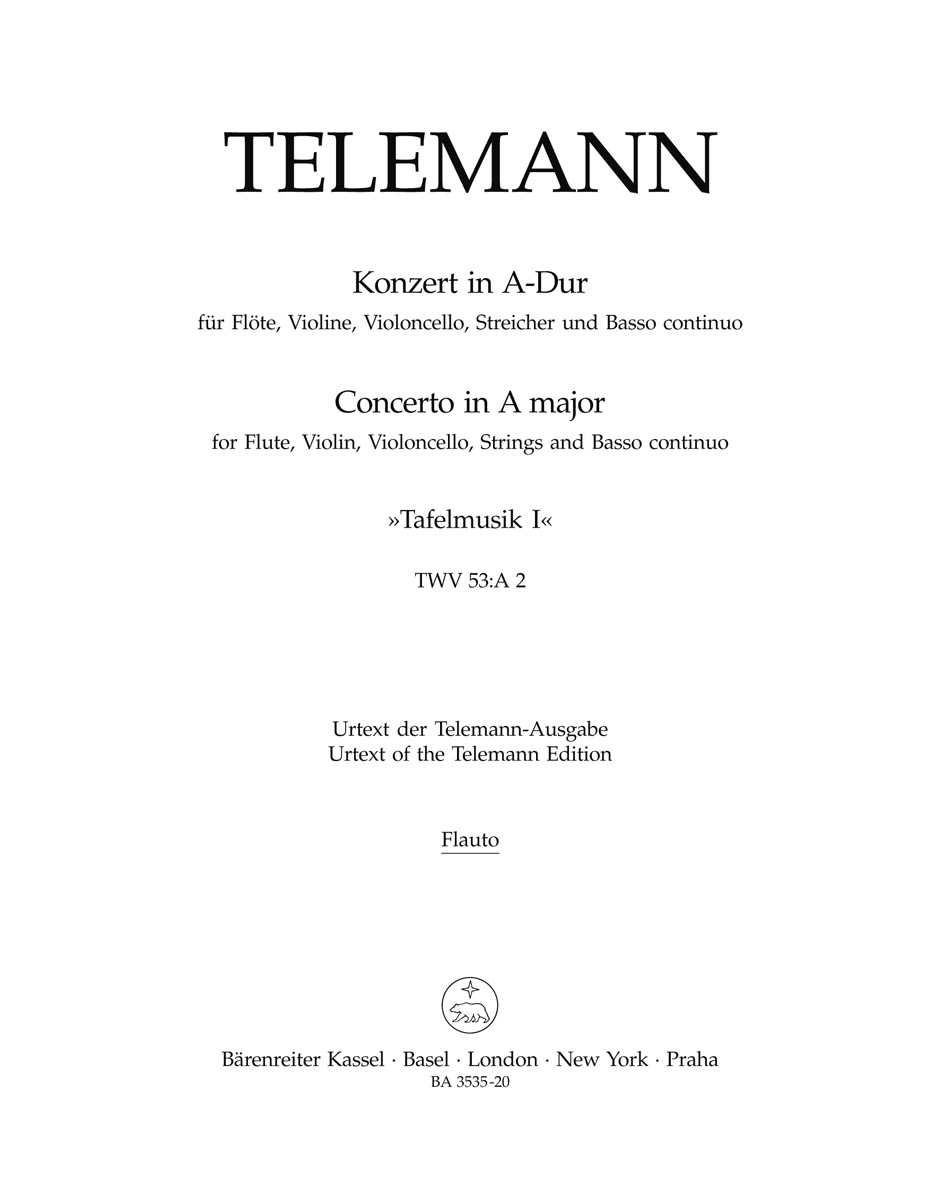 Georg Philipp Telemann: Konzert in A-Dur - Concerto In A Major TWV 53: Chamber
