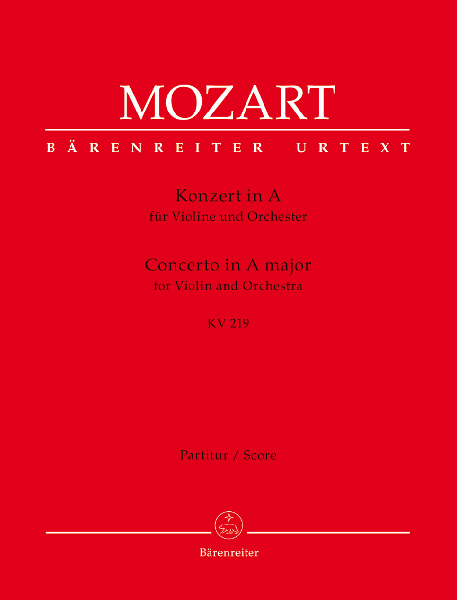 Wolfgang Amadeus Mozart: Violin Concerto No.5 In A K.219: Violin: Score