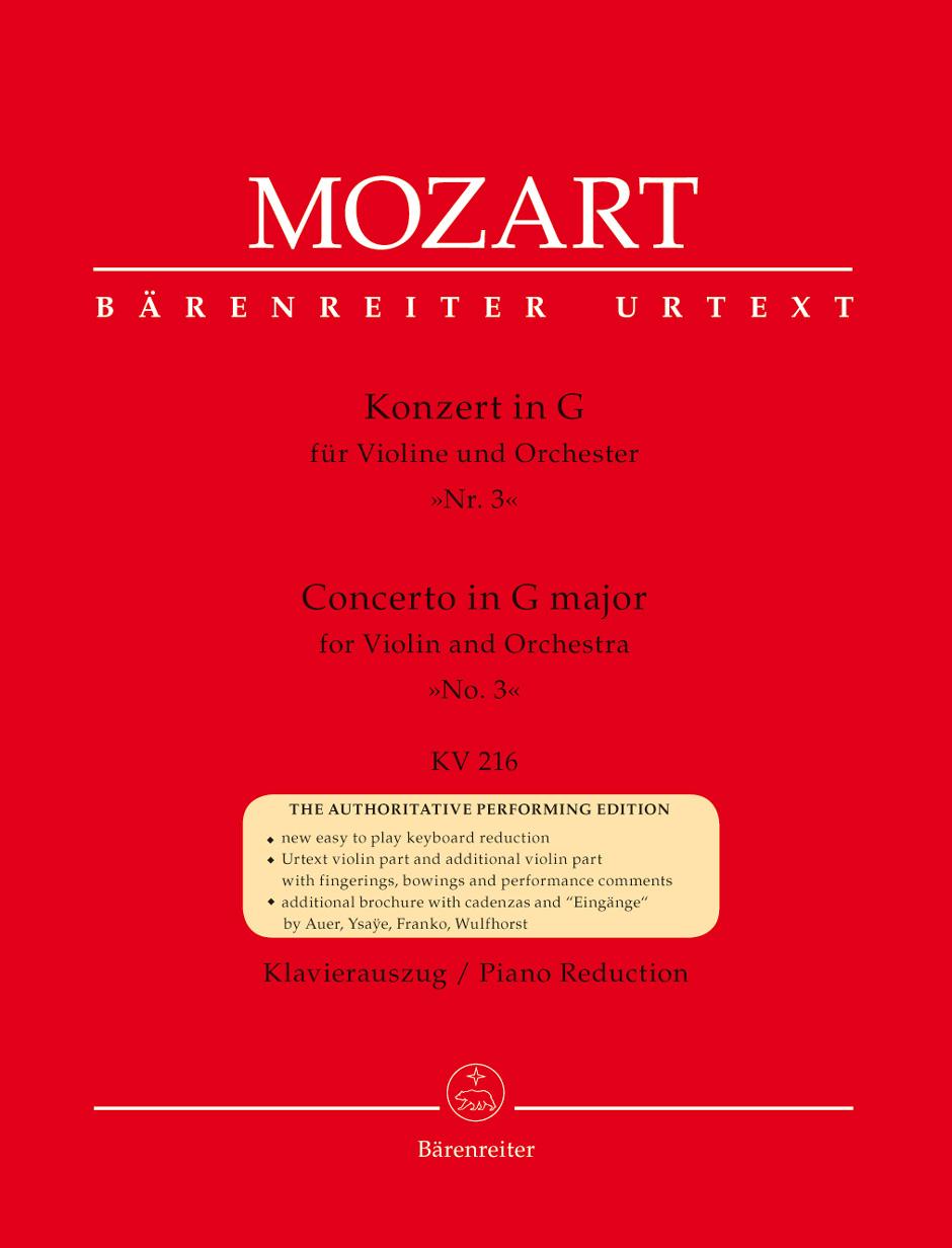 Wolfgang Amadeus Mozart: Violin Concerto No.3 In G K.216: Violin: Instrumental
