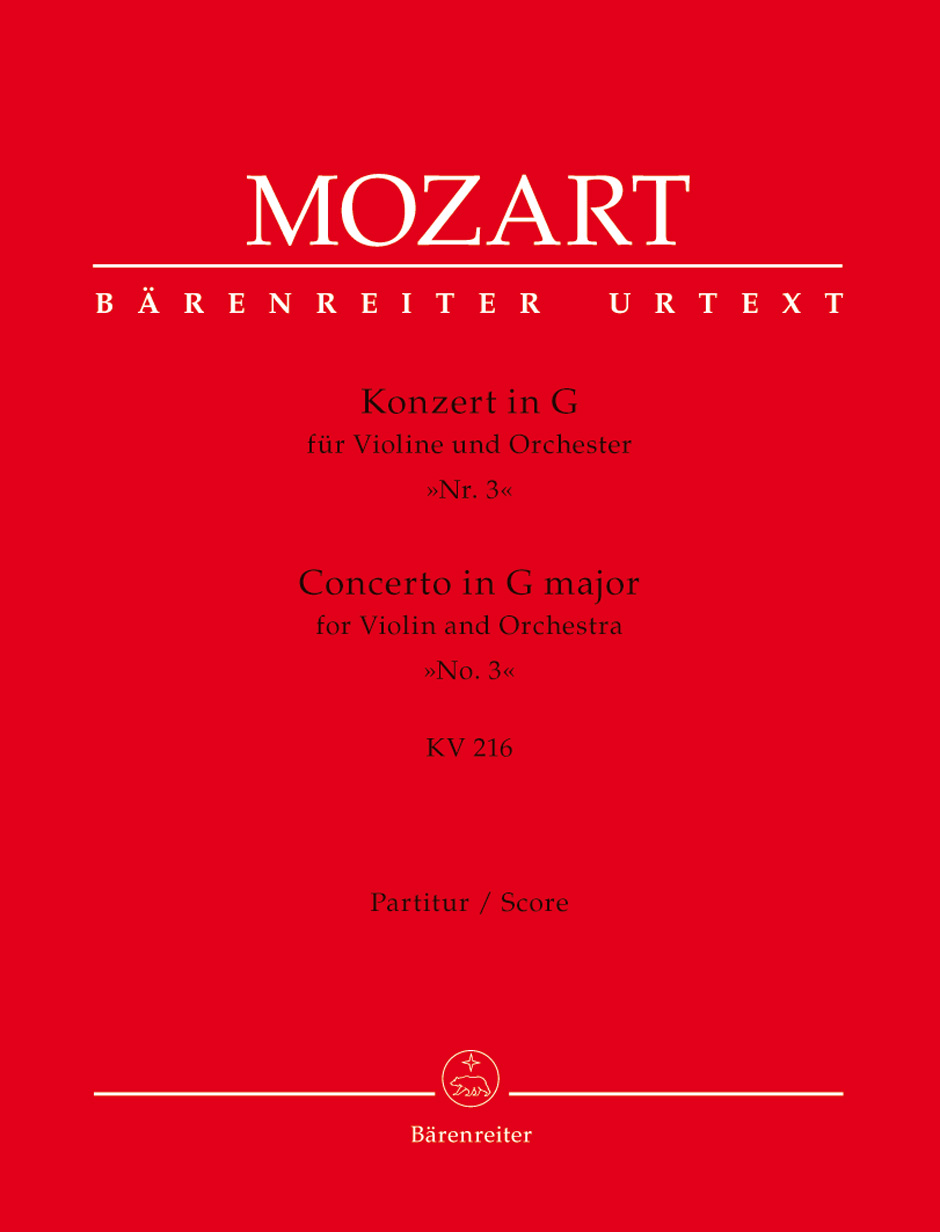 Wolfgang Amadeus Mozart: Violin Concerto No.3 In G K.216: Violin: Score