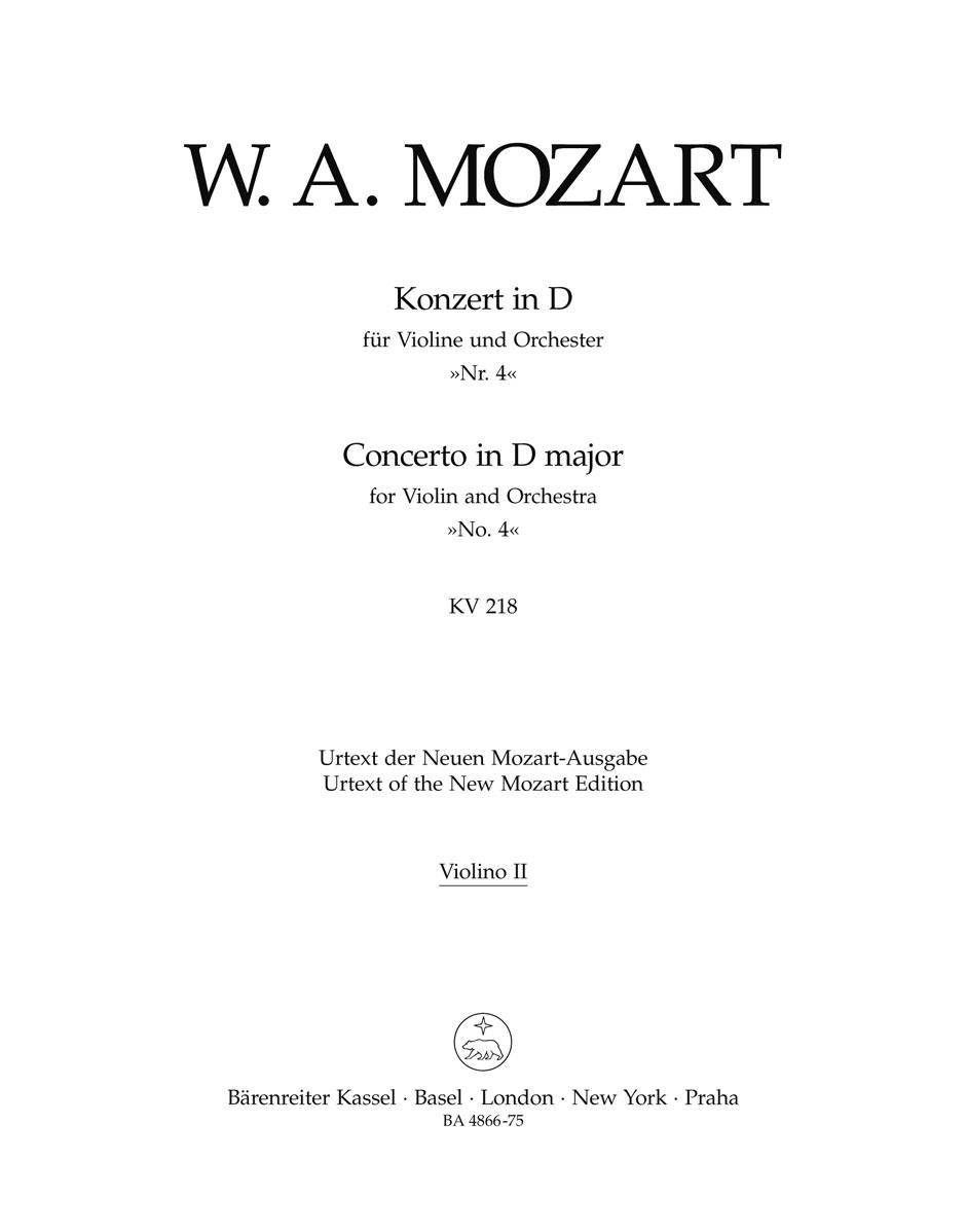 Wolfgang Amadeus Mozart: Violin Concerto No.4 in D major K.218: Violin: Part