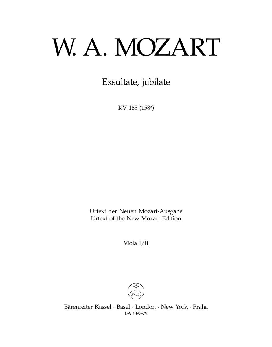 Wolfgang Amadeus Mozart: Exsultate  jubilate K.165: Viola: Part