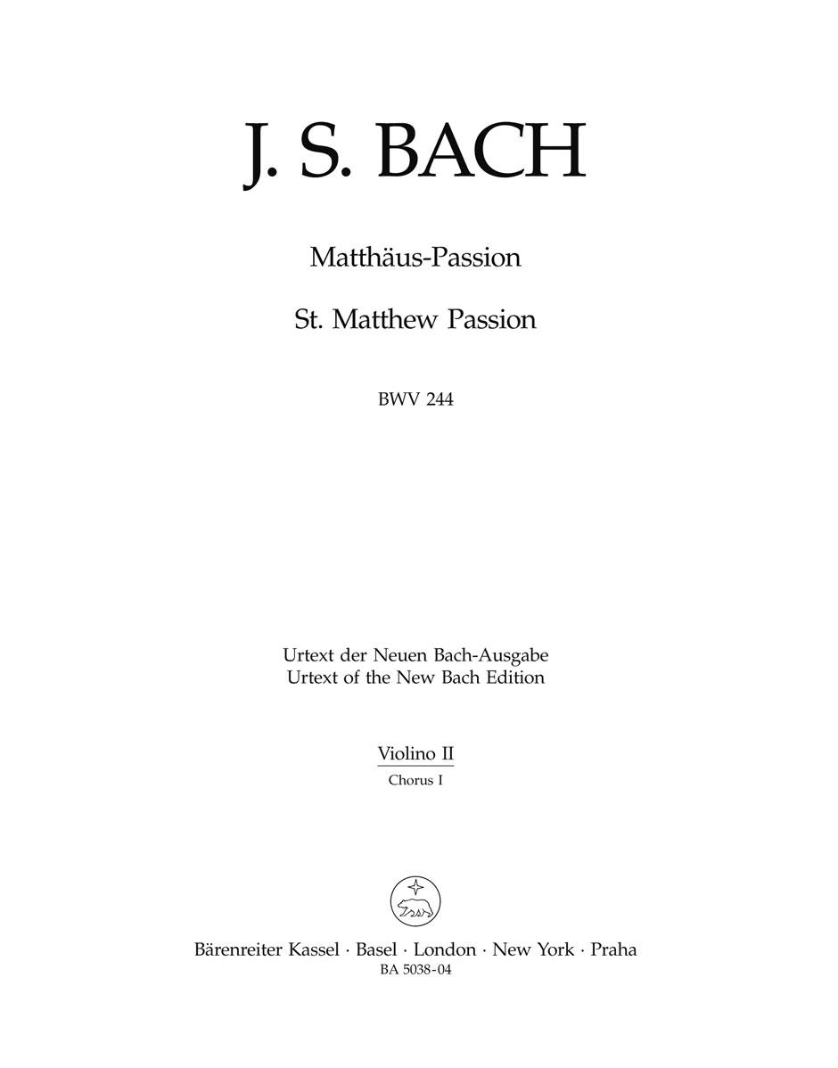 Johann Sebastian Bach: St Matthew Passion BWV 244: Mixed Choir: Part