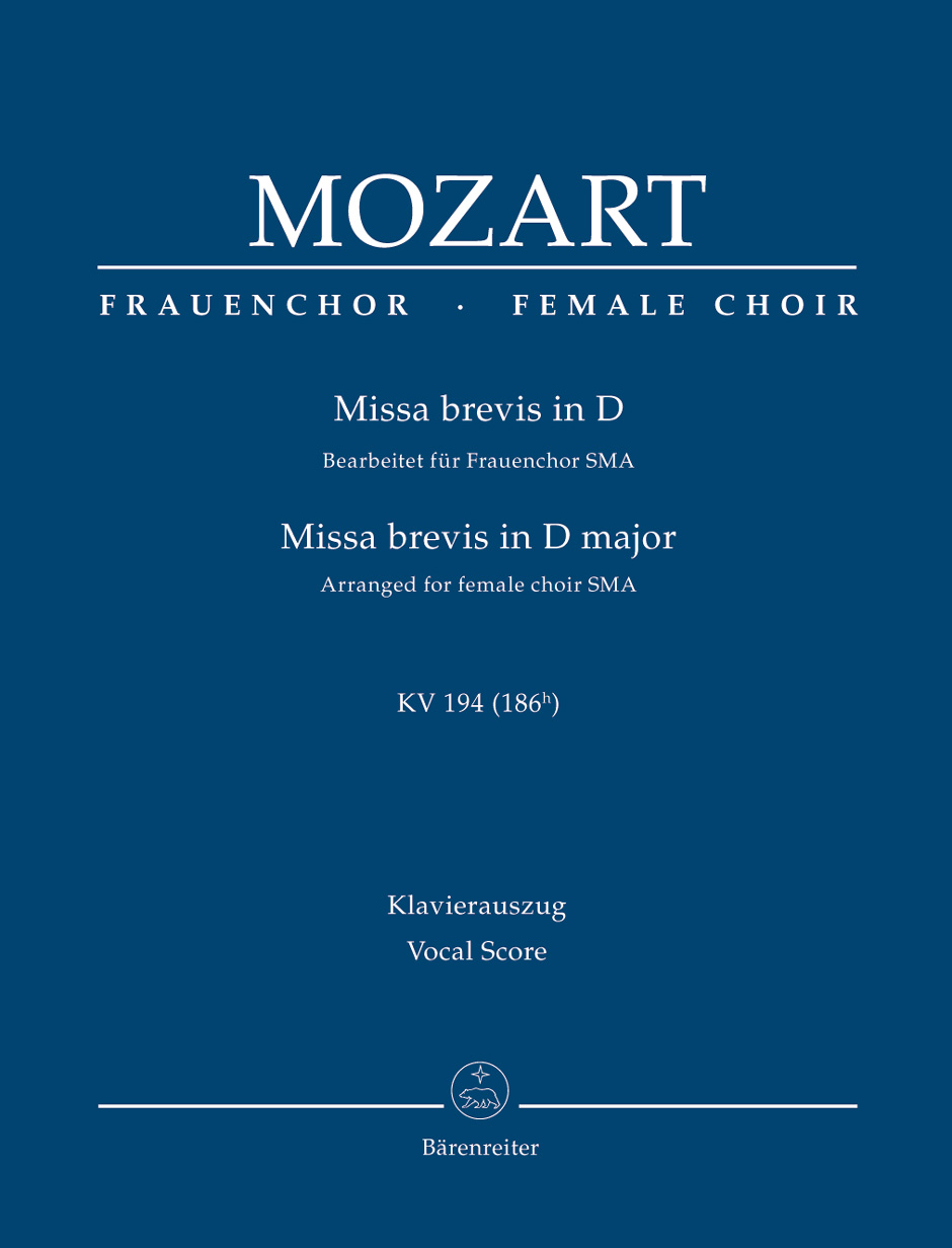 Wolfgang Amadeus Mozart: Missa brevis in D major: Mixed Choir: Vocal Score