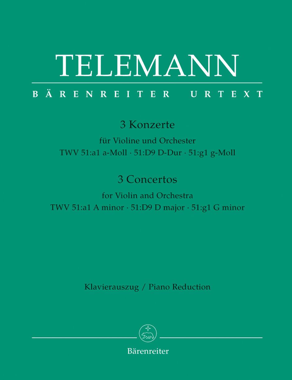 Georg Philipp Telemann: Three Concertos For Violin: Violin: Instrumental Work