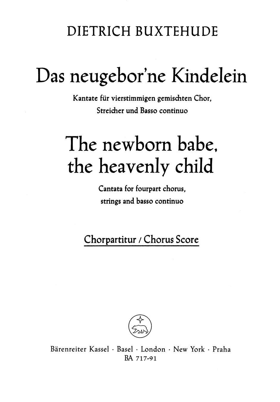 Dietrich Buxtehude: Das neugebor'ne Kindelein: SATB: Vocal Score
