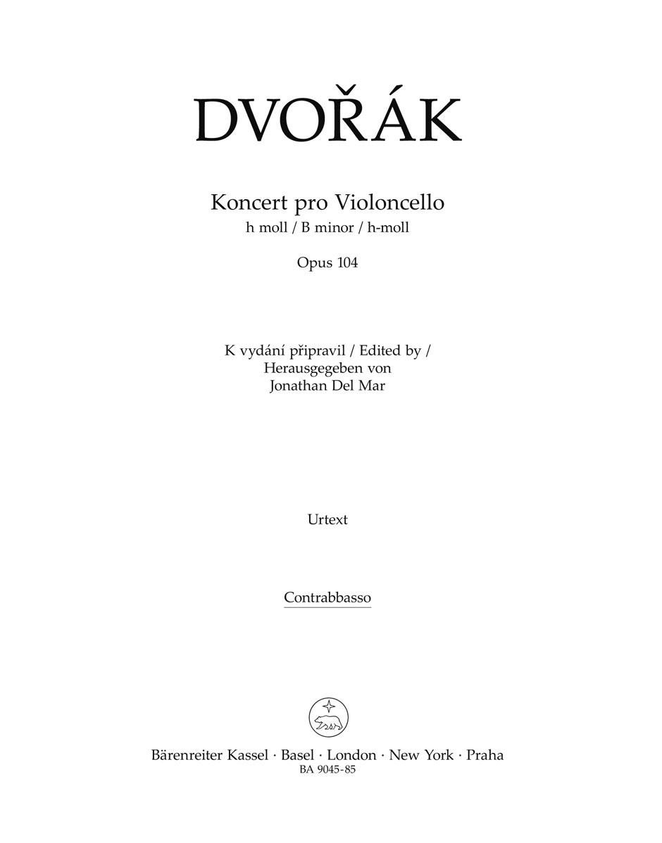 Antonín Dvo?ák: Cello Concerto In B Minor Op.104 (Double Bass): Cello: Part