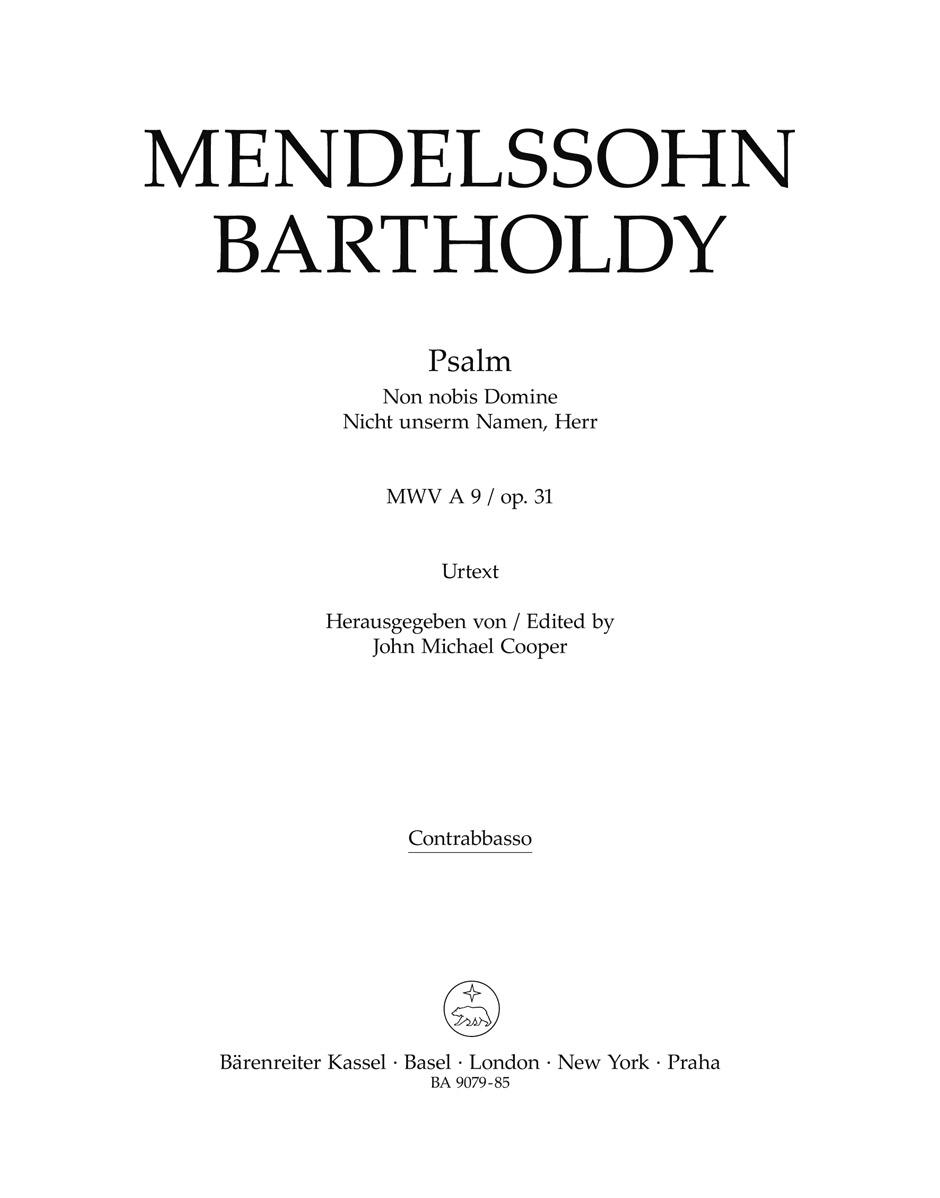 Felix Mendelssohn Bartholdy: Psalm Non Nobis Domine - Nicht Unserm Namen  Herr: