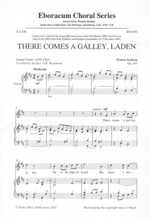 Francis Jackson: There Comes A Galley  Laden: SATB: Vocal Score