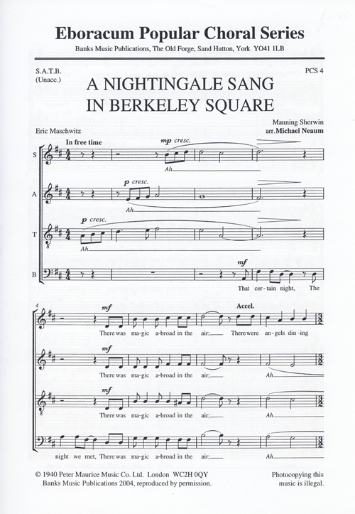 A Nightingale Sang In Berkeley Square: SATB: Vocal Score