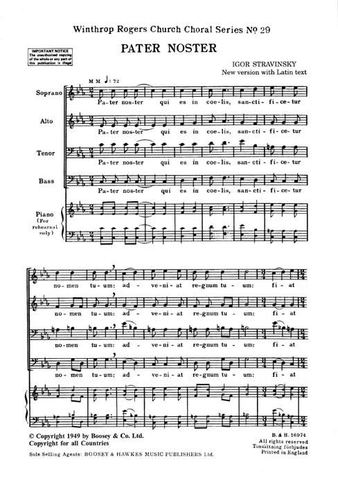 Igor Stravinsky: Pater Noster: SATB: Vocal Score