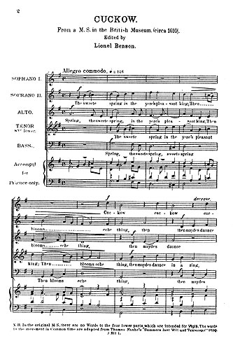 Anonymous: Cockow The Sweet Spring: Soprano & SATB: Score
