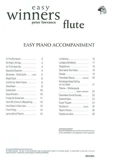 Peter Lawrance: Easy Winners Piano Accompaniment for Flute: Piano Accompaniment: