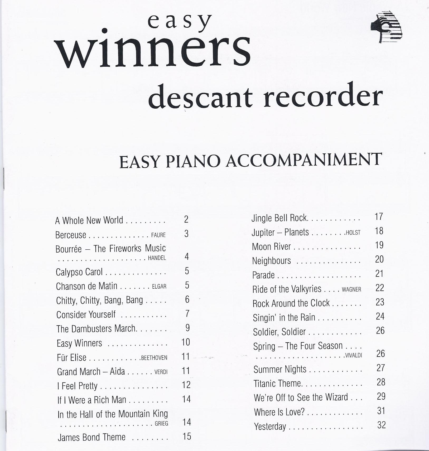 Peter Lawrance: Easy Winners Recorder: Recorder: Instrumental Album