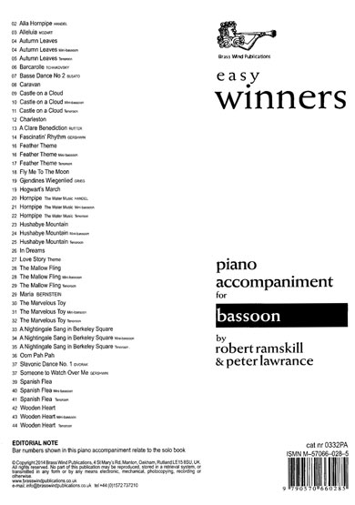 Ramskill Ian Lawrence: Easy Winners for Bassoon: Bassoon: Instrumental Work