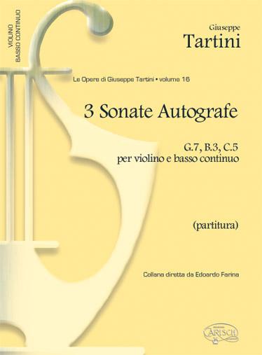 Tartini Giuseppe Volume 16 3 Sonate Autografe G7 B3 C5 Vln/Cont Fs