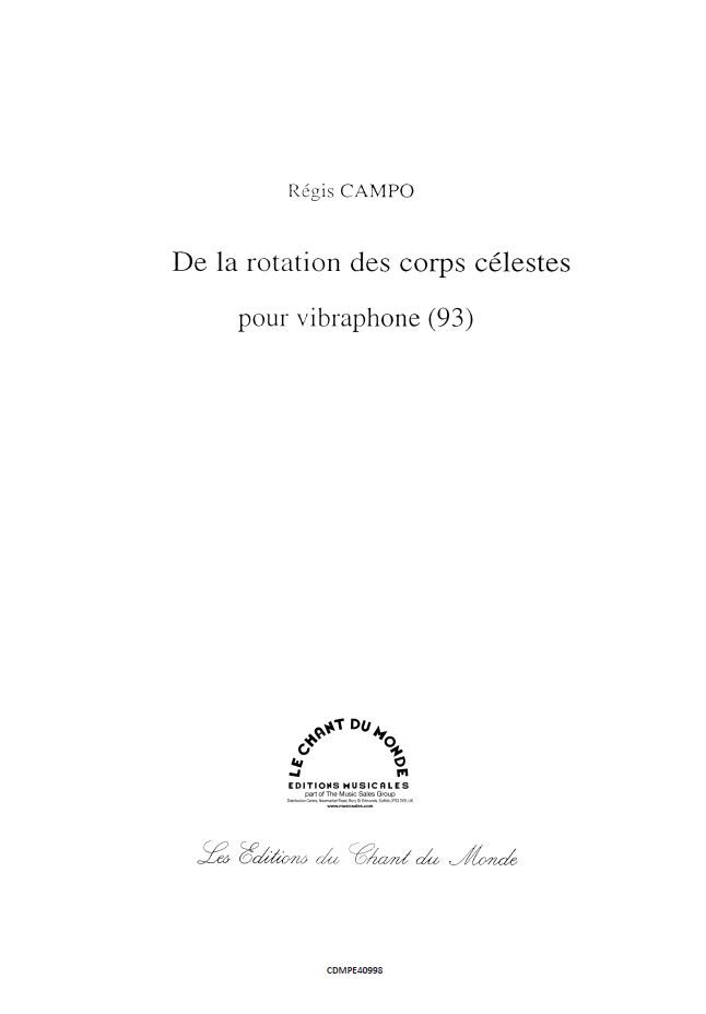 Régis Campo: De la rotation des corps célestes: Mixed Duet: Instrumental Work
