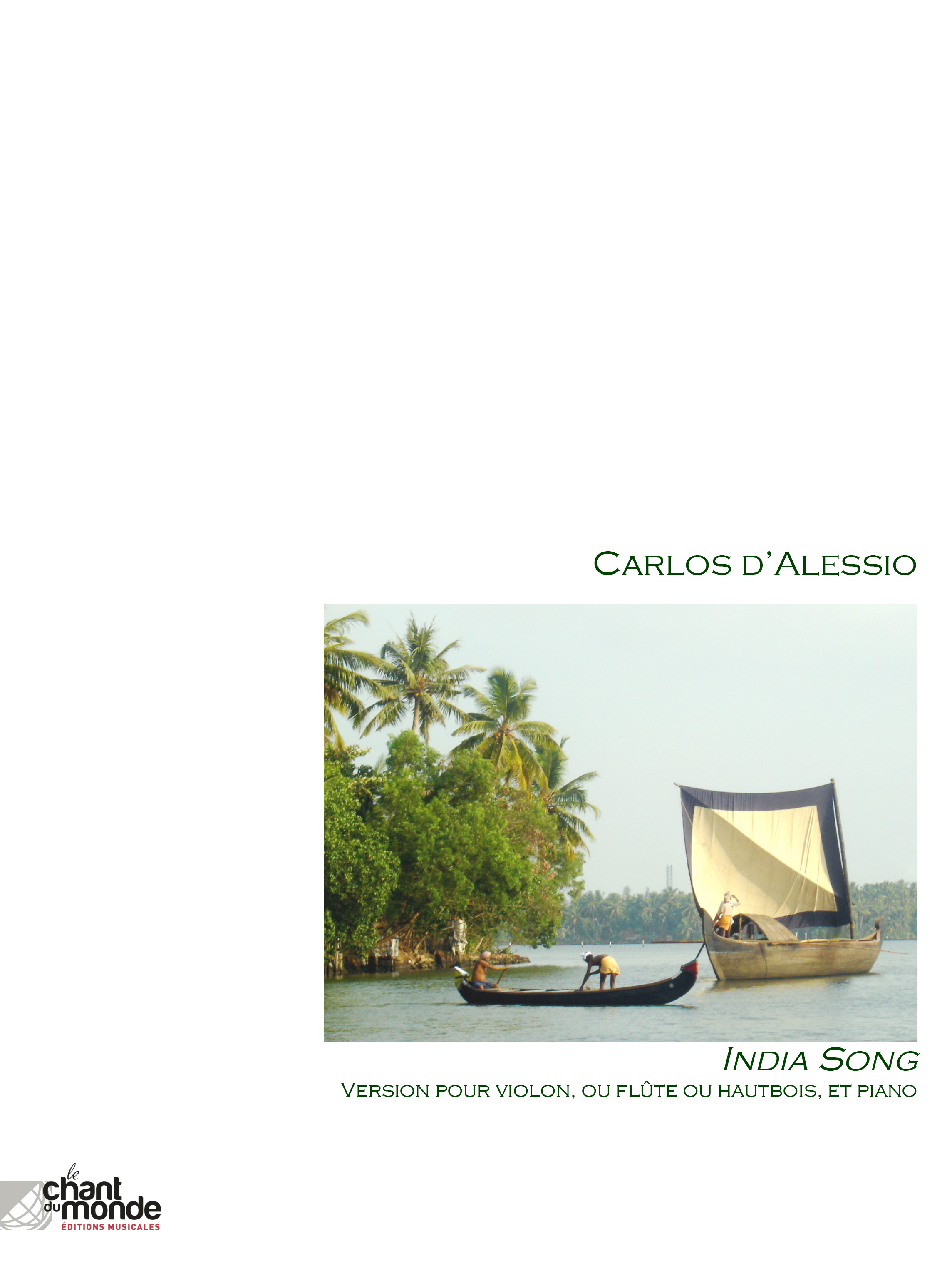 Carlos d'Alessio: India Song: Mixed Trio: Instrumental Work