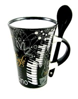 Little Snoring Gifts: Cappuccino Mug With Spoon – Piano (Black)