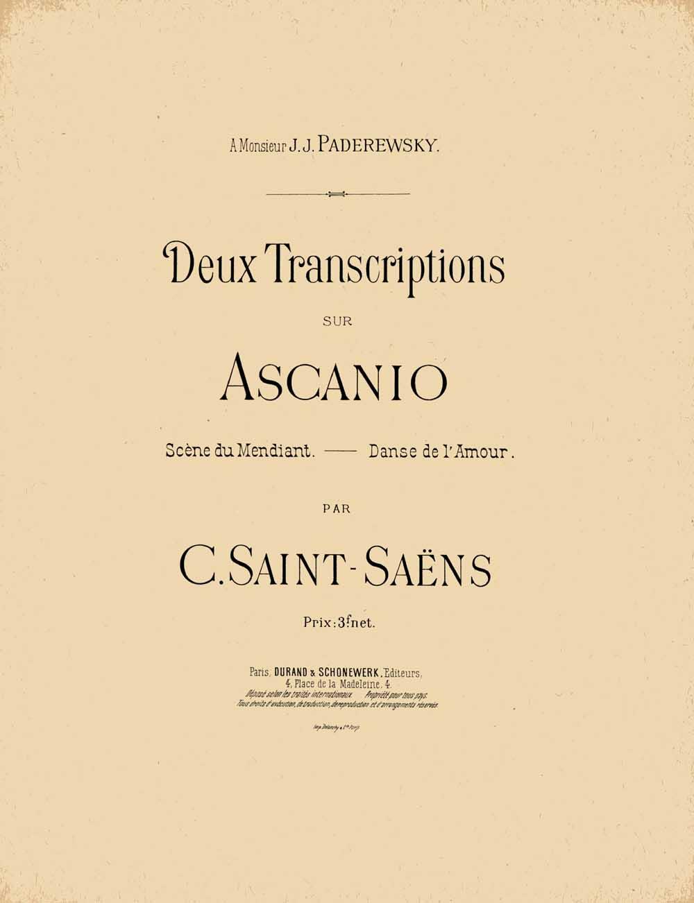 Camille Saint-Saëns: Deux transcription sur Ascanio: Piano Solo: Instrumental