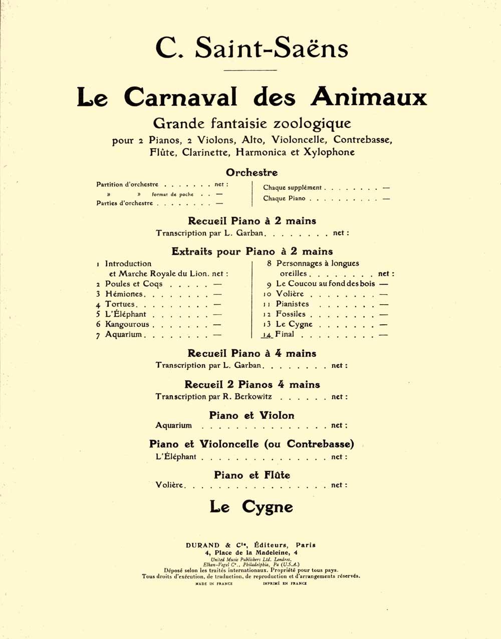 Camille Saint-Saëns: Finale no14 (transcription de Lucien Garban): Piano Solo: