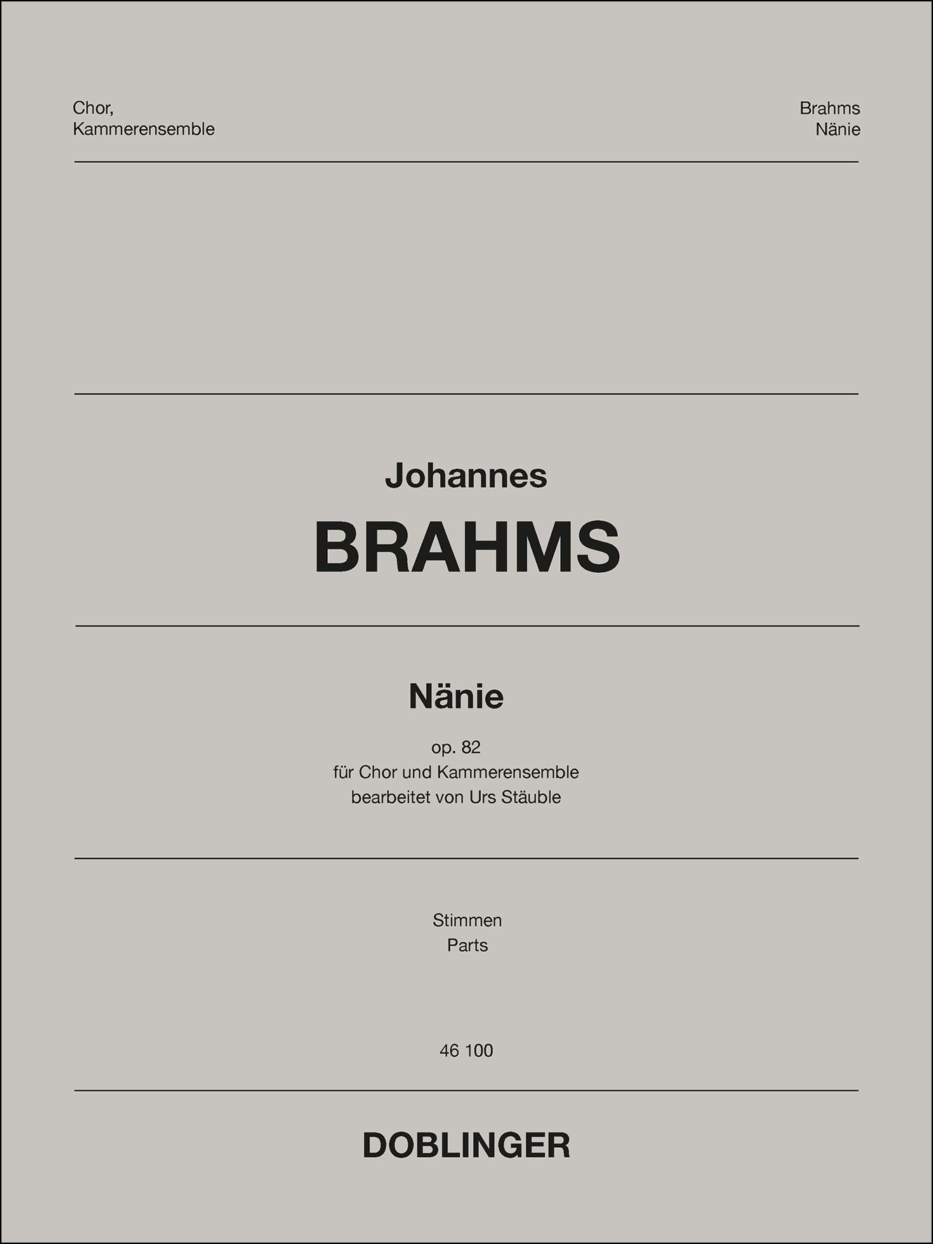 Johannes Brahms: Nanie: Mixed Choir and Accomp.: Parts
