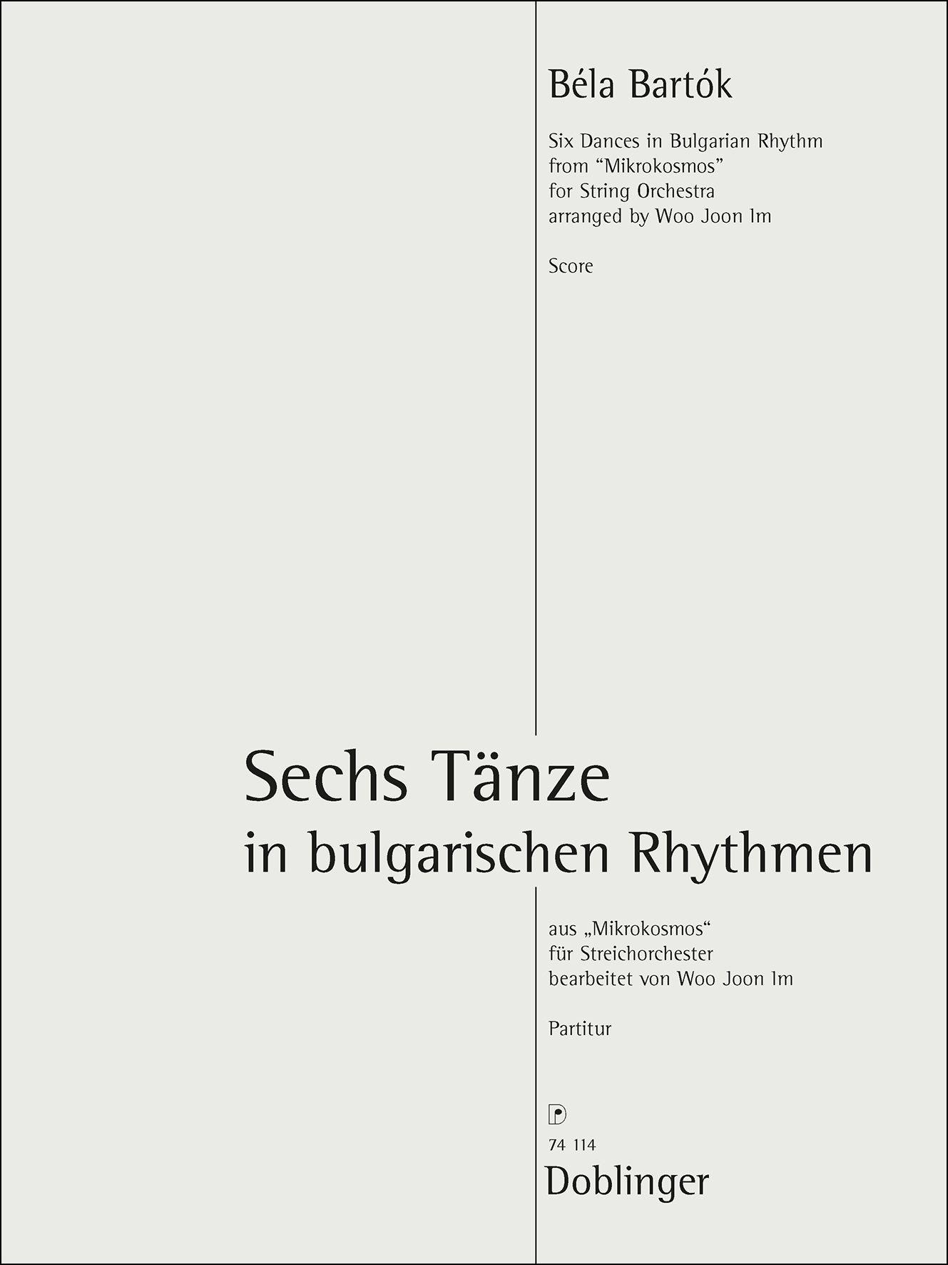 Bela Bartok: Sechs Tänze: String Orchestra: Score