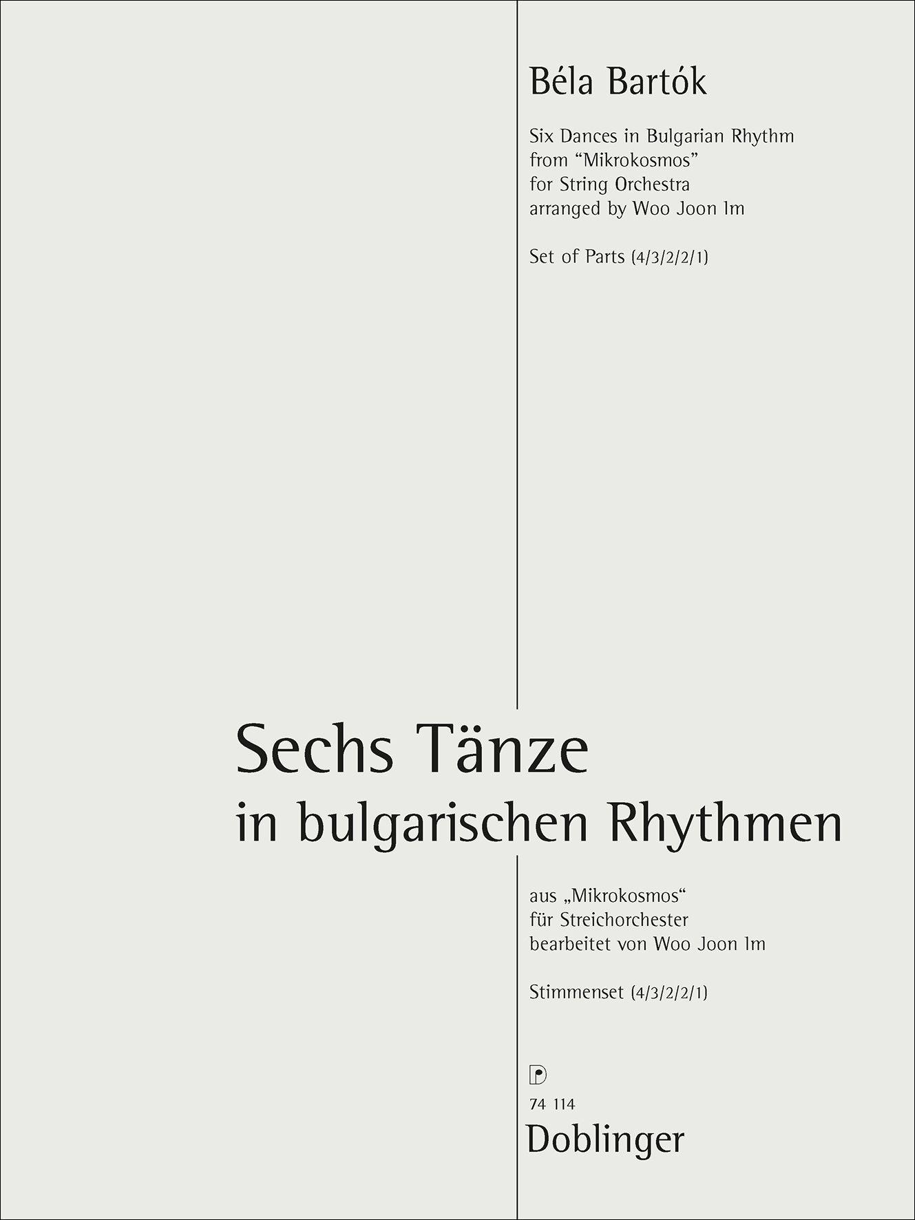 Bela Bartok: Sechs Tänze: String Orchestra: Parts
