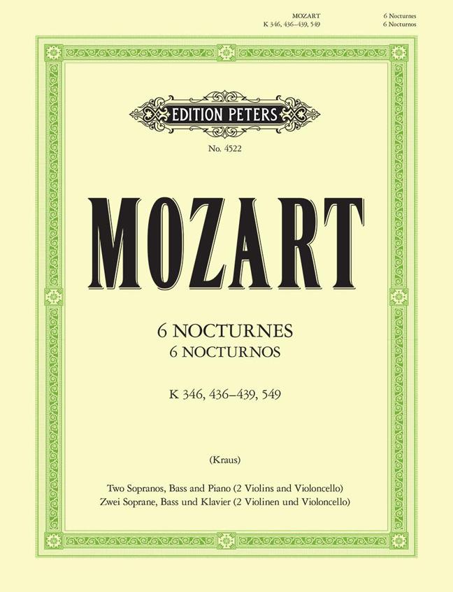 Wolfgang Amadeus Mozart: 6 Nocturnes K.346  K.436-9  549: Vocal: Vocal Score