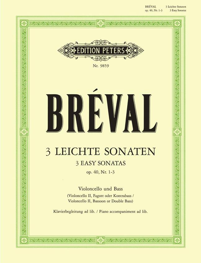 Jean-Baptiste Breval: 3 Leichte Sonaten Op.40: Cello & Piano: Instrumental Album