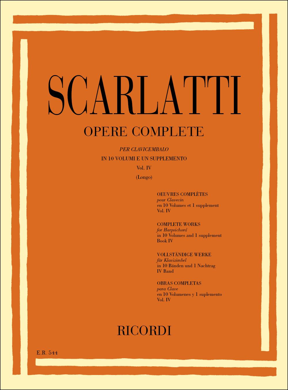 Domenico Scarlatti: Opere Complete Per Clavicembalo Vol. IV: Harpsichord