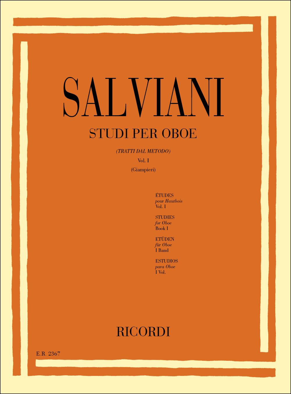 C. Salviani: Studi per oboe (tratti dal Metodo) Vol. I: Oboe: Instrumental Tutor