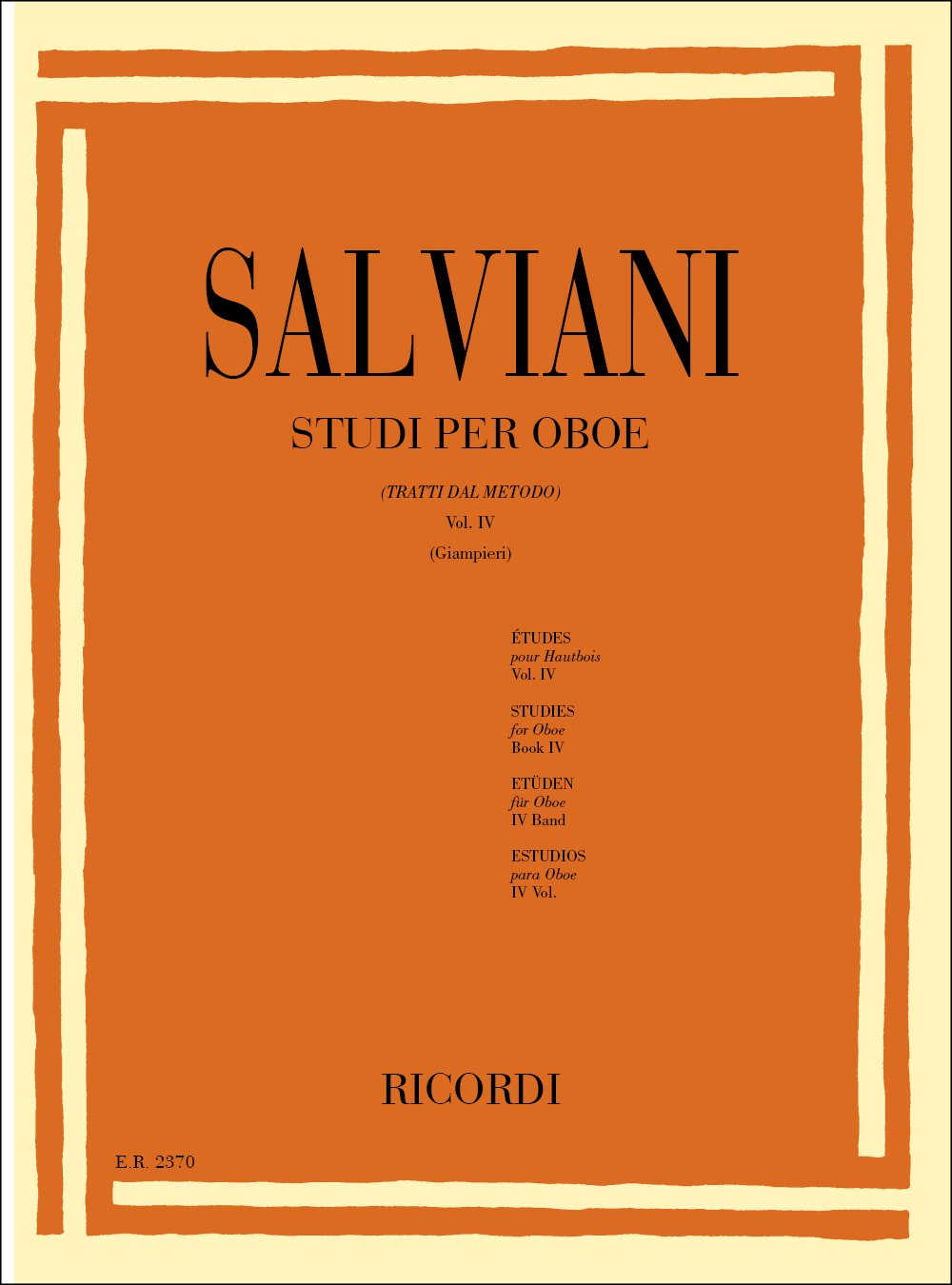 C. Salviani: Studi per oboe (tratti dal Metodo) Vol. IV: Oboe
