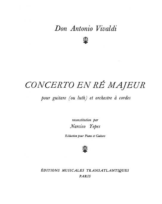 Antonio Vivaldi: Concerto En Ré Majeur: Guitar & Piano: Instrumental Work
