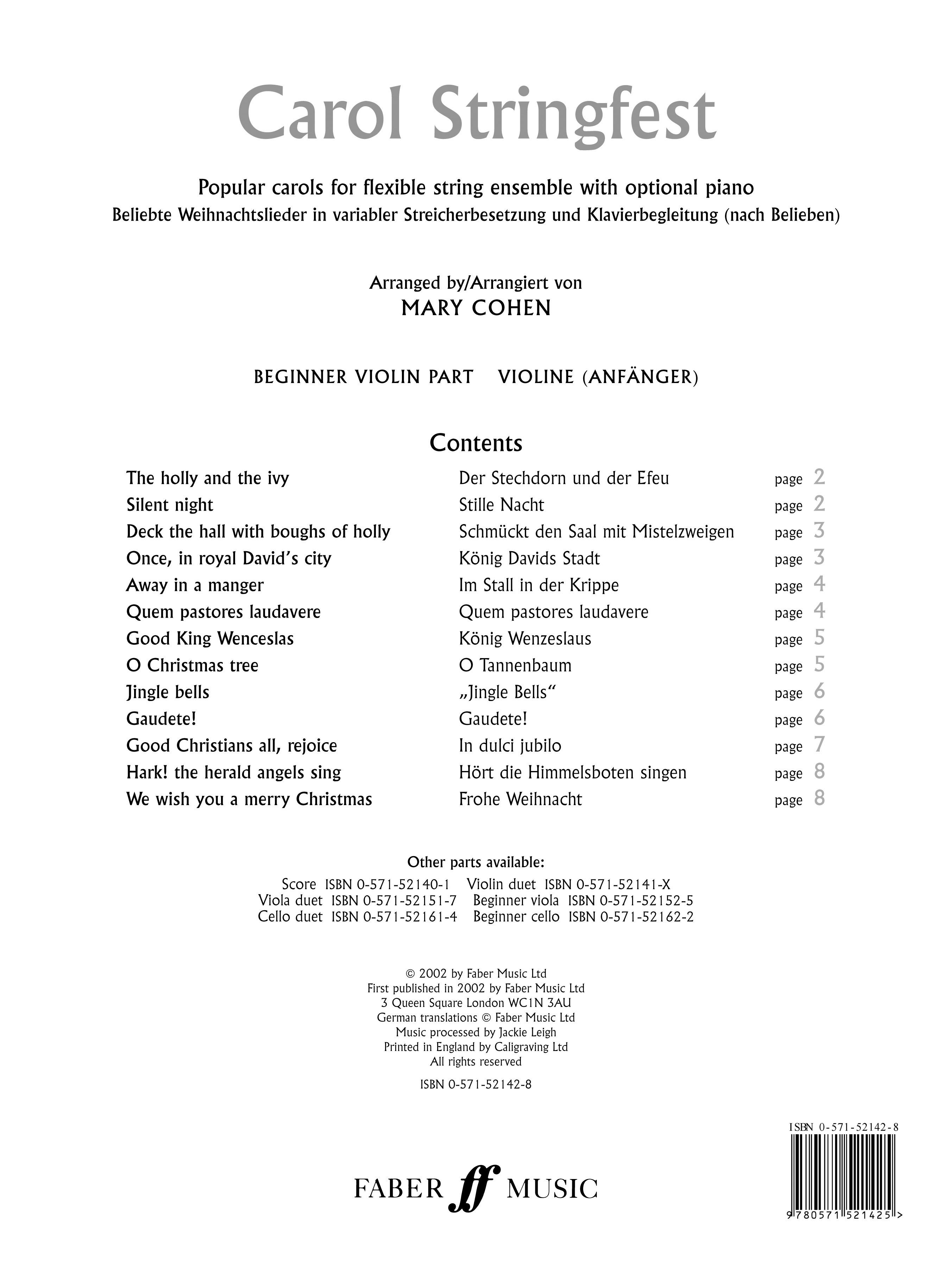 Mary Cohen: Carol Stringfest: Violin: Instrumental Album