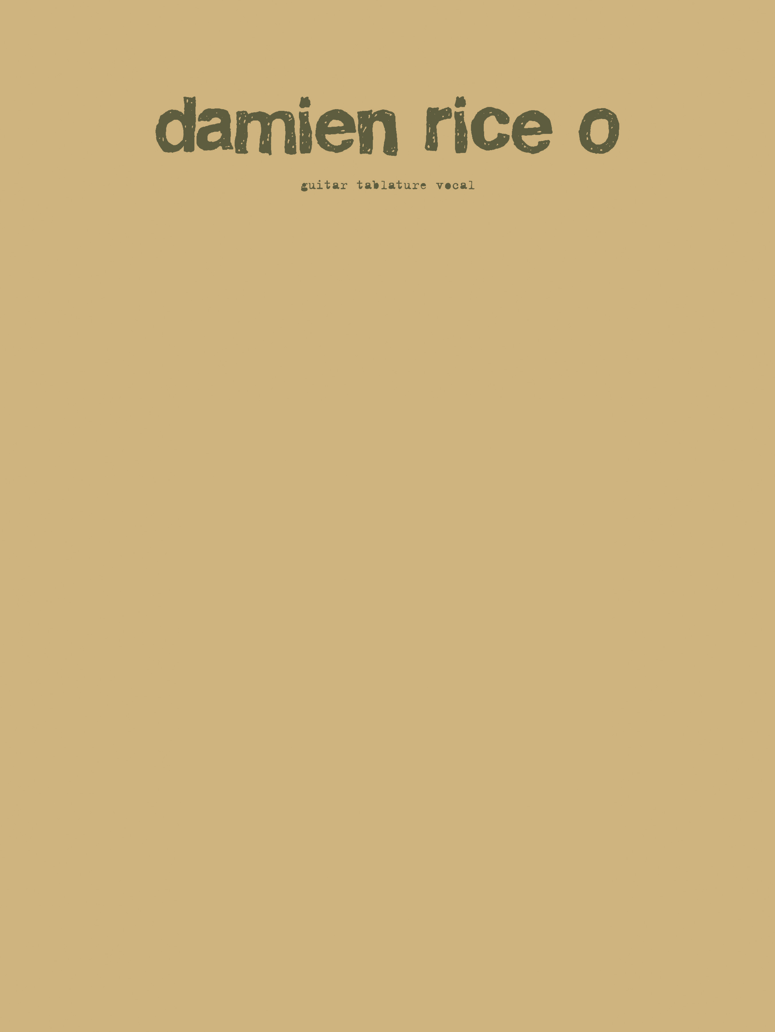 Damien Rice: Damien Rice: O: Guitar TAB: Album Songbook
