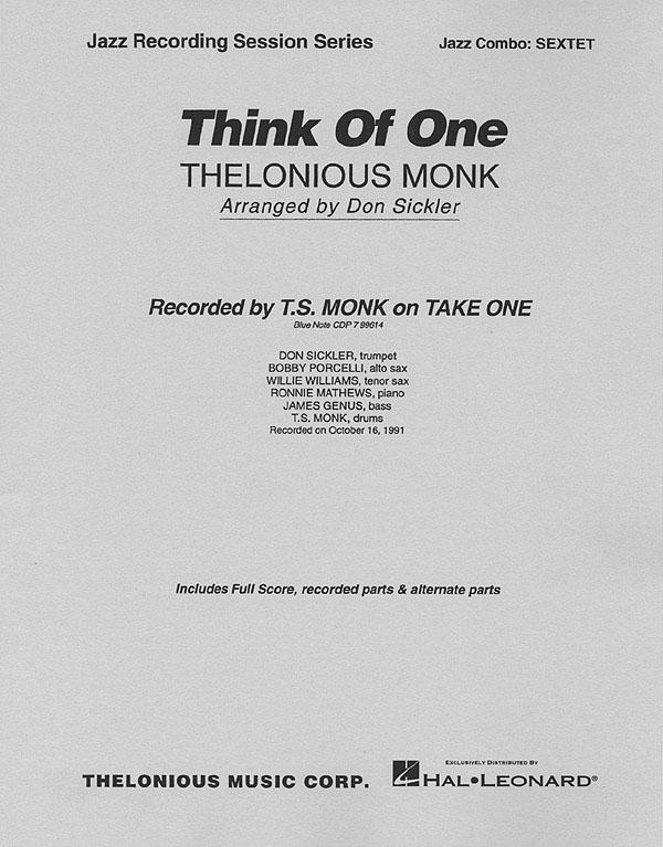 Thelonious Monk: Think of One: Jazz Ensemble: Score