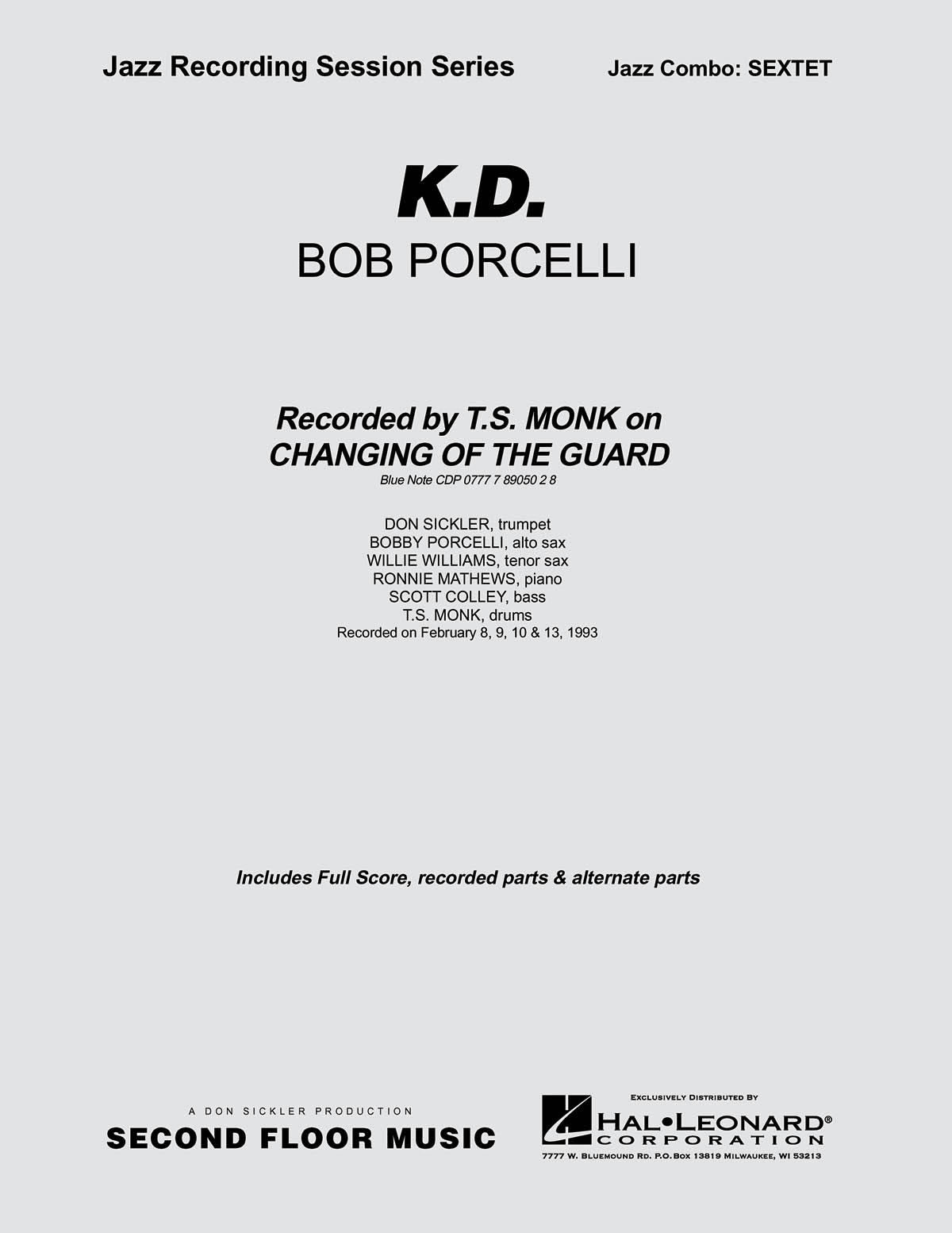Bob Porcelli: K.D.: Jazz Ensemble: Score & Parts