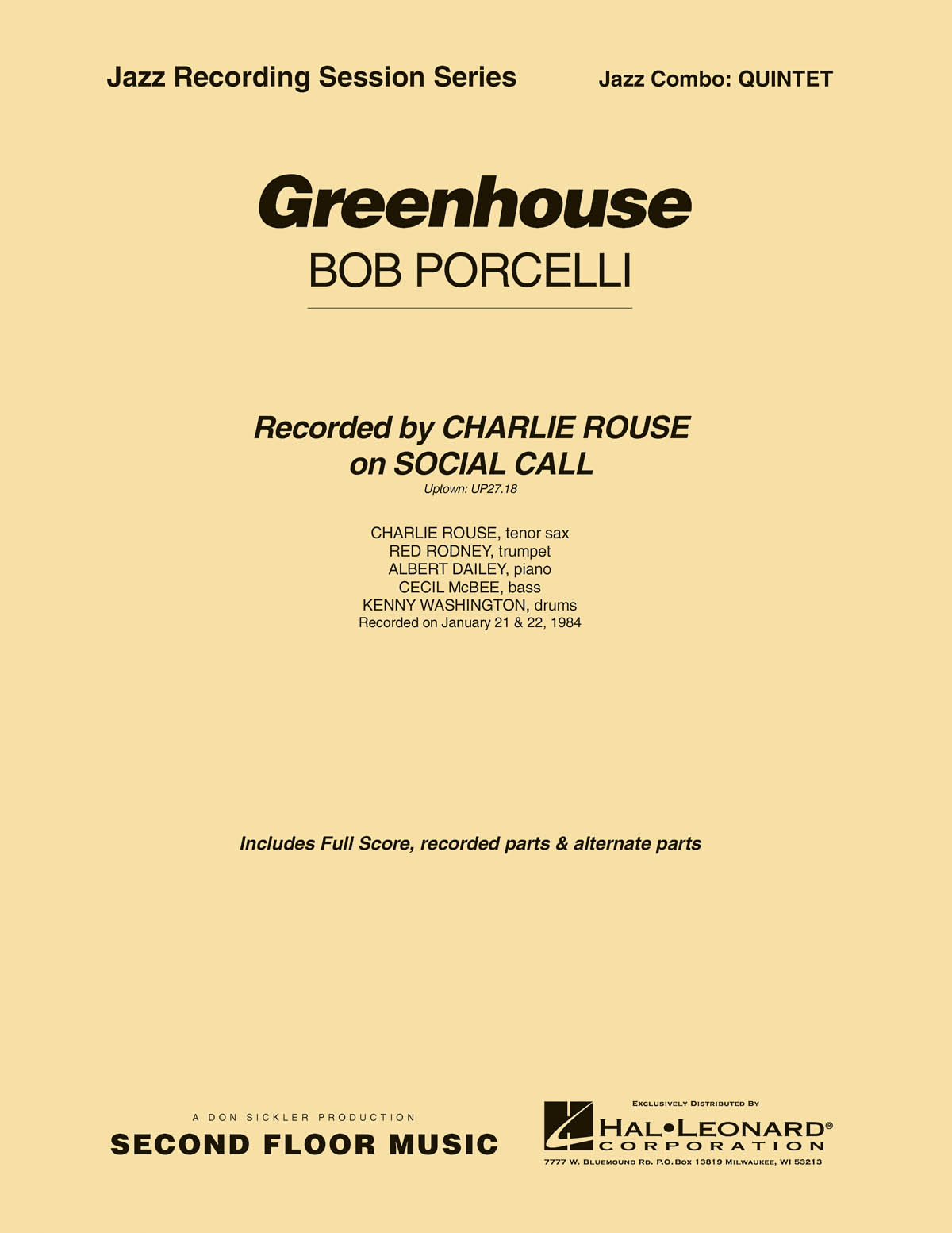 Bob Porcelli: Greenhouse: Jazz Ensemble: Score & Parts