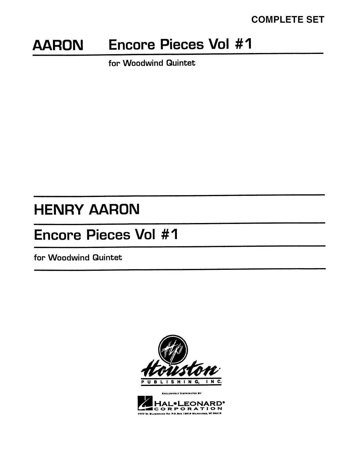 Encore Pieces for Woodwind Quintet - Volume 1: Woodwind Ensemble: Score & Parts
