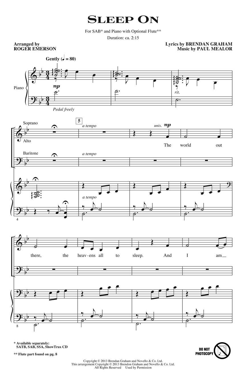 Brendan Graham: Sleep On: Mixed Choir a Cappella: Vocal Score