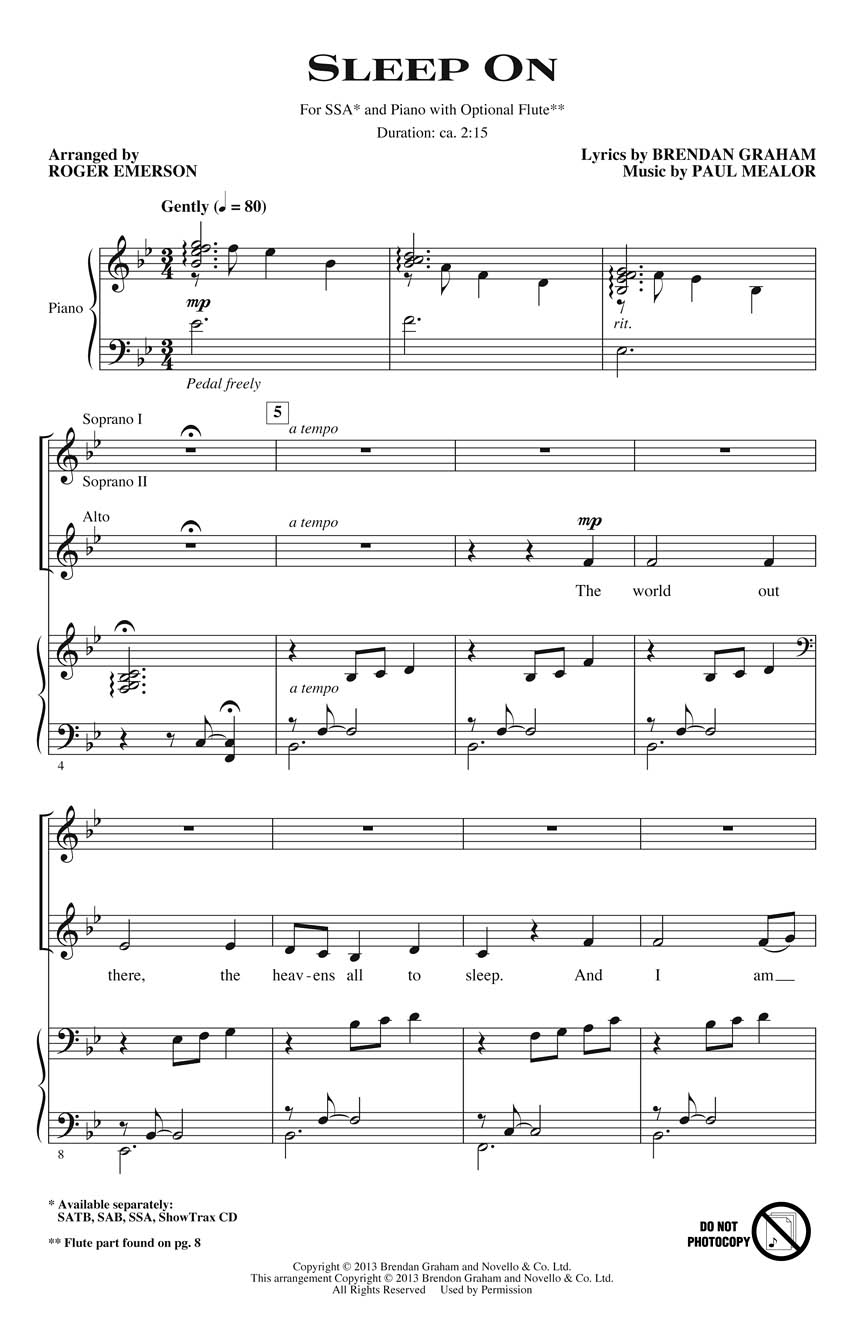 Brendan Graham: Sleep On: Upper Voices a Cappella: Vocal Score
