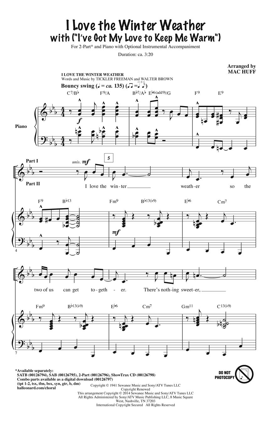 I Love the Winter Weather: 2-Part Choir: Vocal Score
