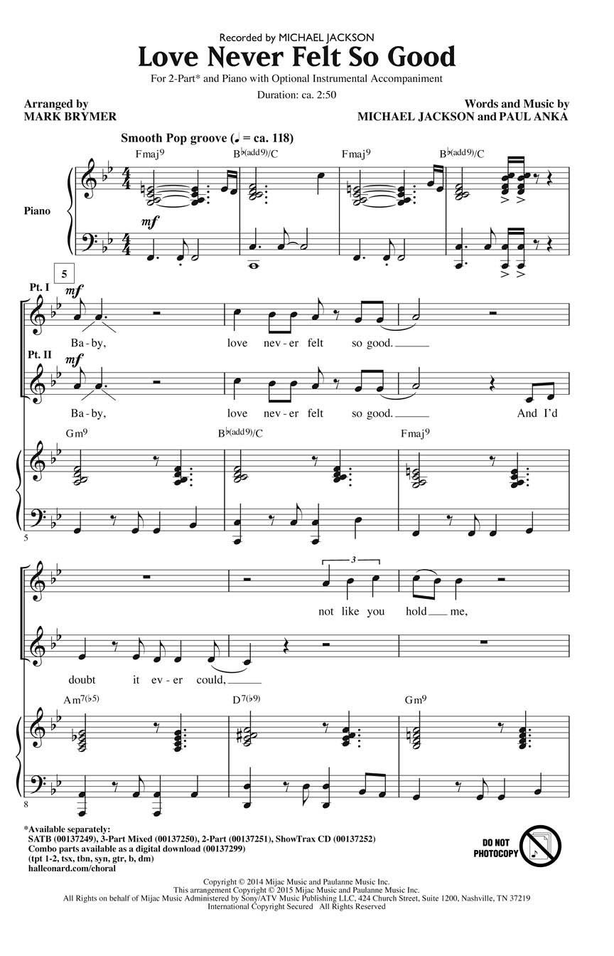 Michael Jackson: Love Never Felt So Good: 2-Part Choir: Vocal Score
