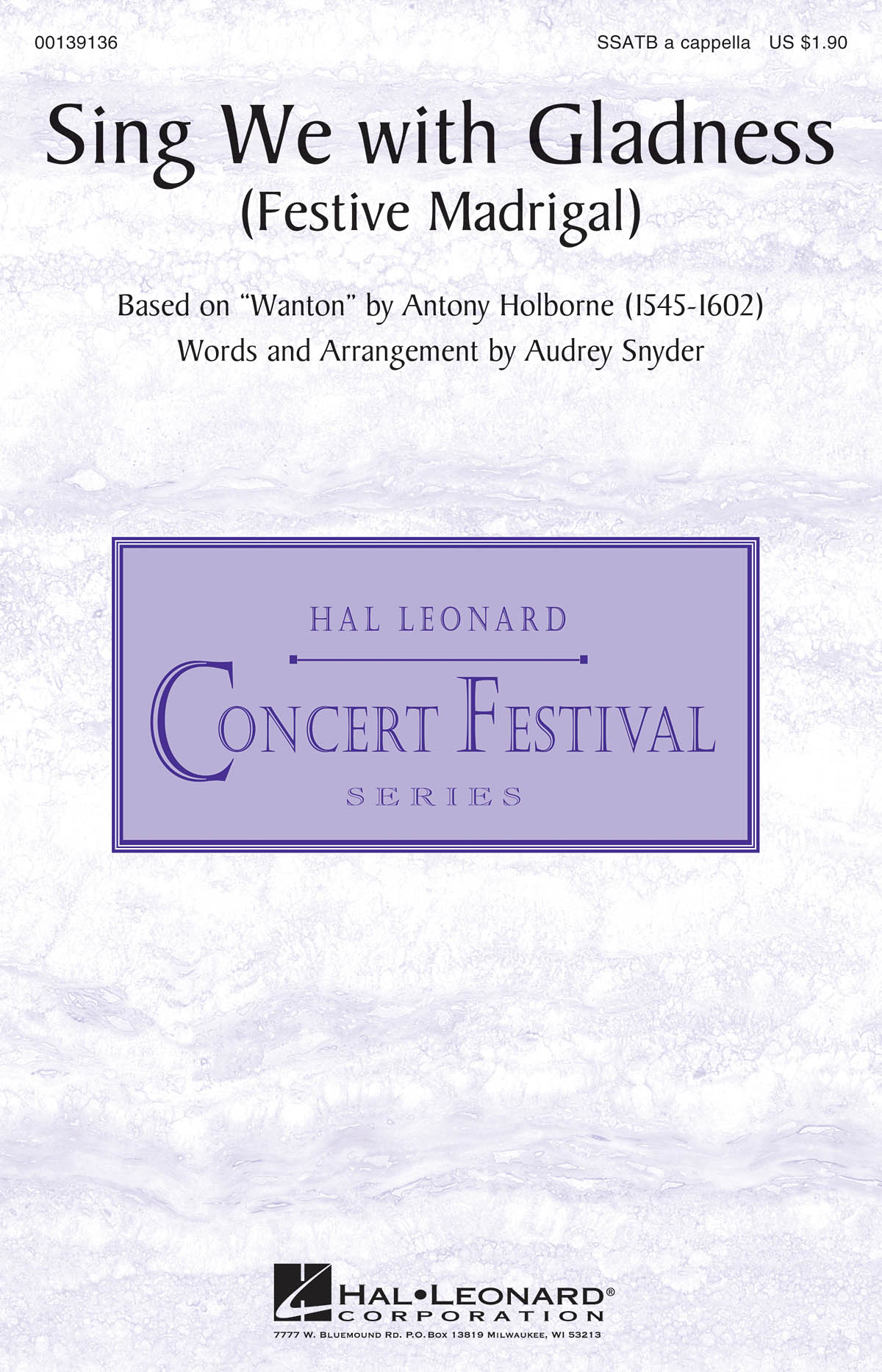 Anthony Holborne: Sing We with Gladness: Mixed Choir a Cappella: Vocal Score
