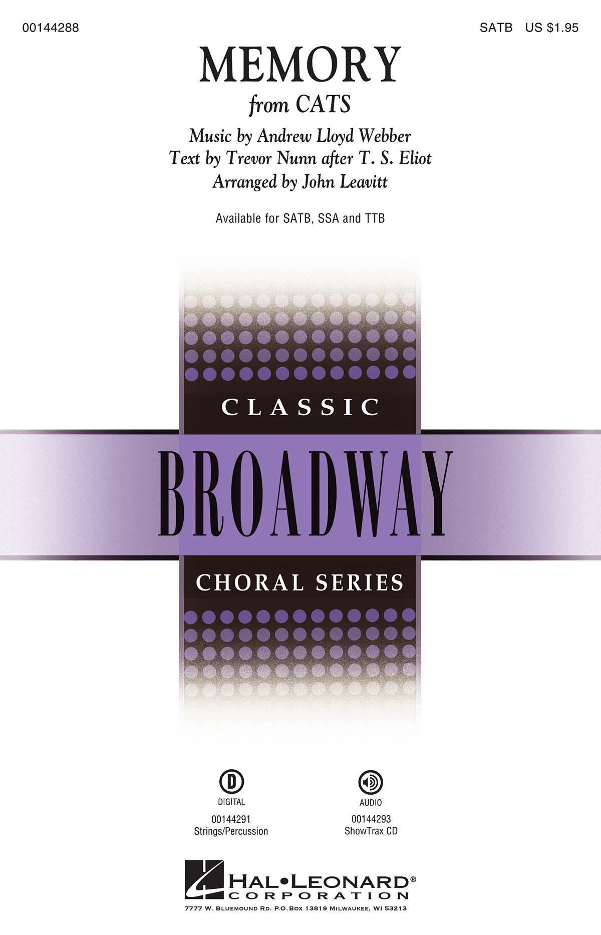Andrew Lloyd Webber: Memory: Mixed Choir a Cappella: Vocal Score