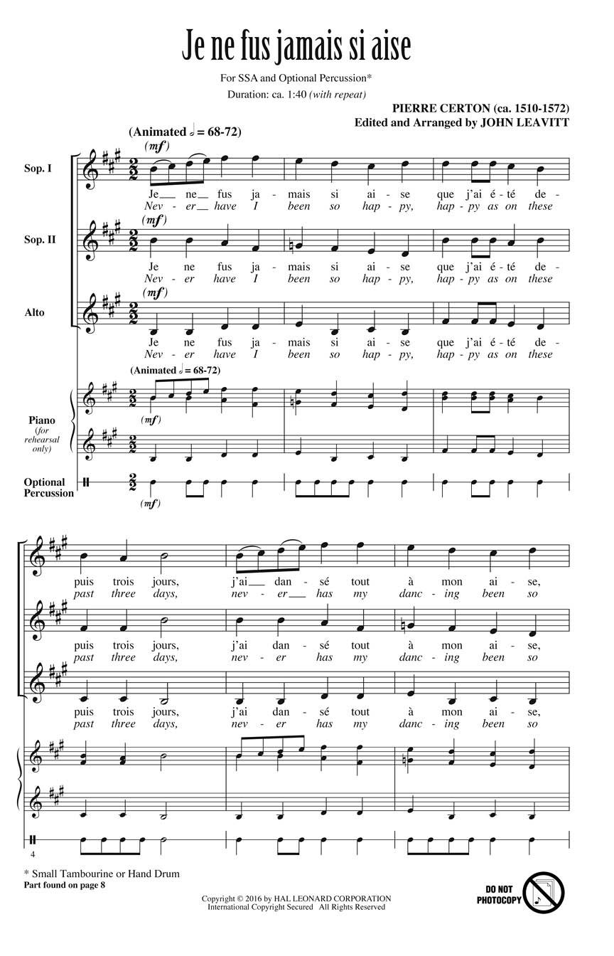 Pierre Certon: Je ne fus jamais si aise: Upper Voices A Cappella: Choral Score