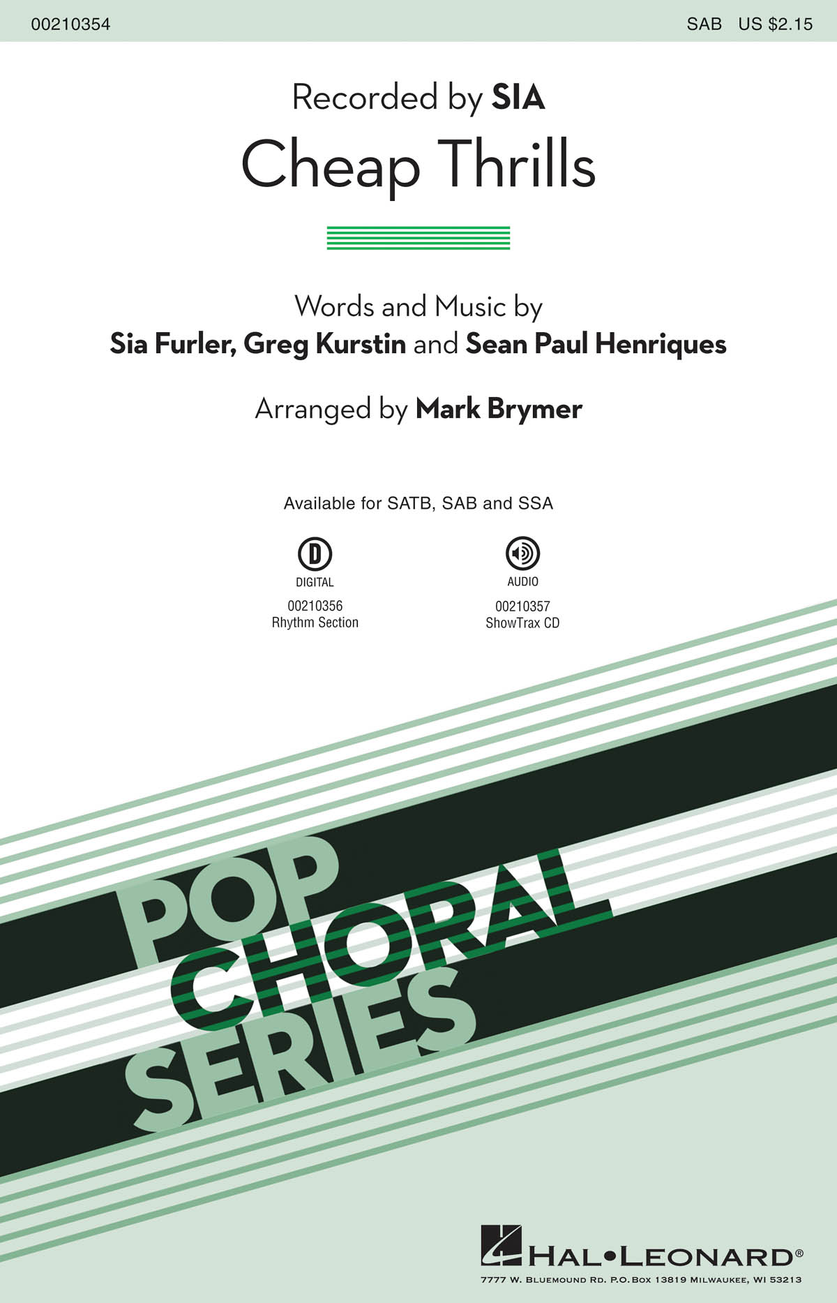 Cheap Thrills: Mixed Choir a Cappella: Vocal Score